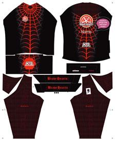 חתך של תלבושת בשחור עם ציור קורי עכביש